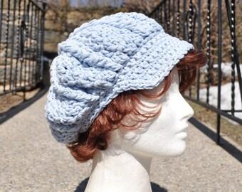 Crocheted Newsboy Hat - Light blue Cotton Crochet Hat - Summer Accessories