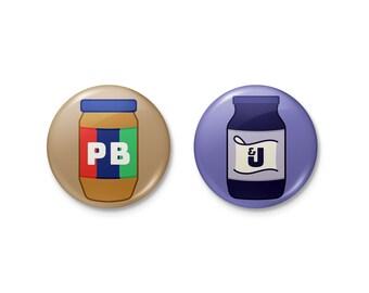 Pins   PB&J Pinback Badge Button Set   peanut butter jelly sandwich