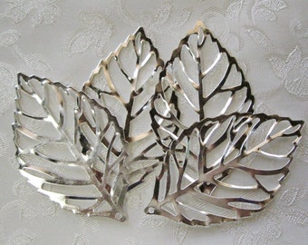 SALE Large Leaf Filigree Bright Silver Seconds 64mm x 35mm Wholesale 516