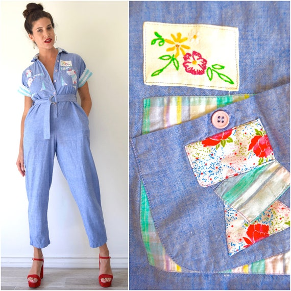 Vintage 70s 80s Blue Chambray Patchwork Short Sleeved Cotton Jumpsuit (size small, medium)