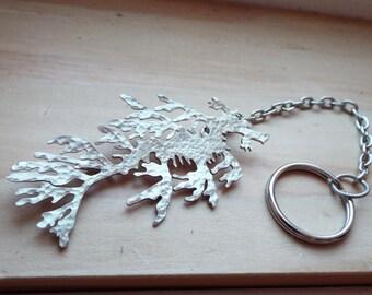 Leafy Sea Dragon Keychain in Nickel Silver