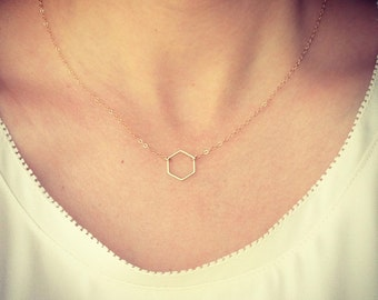 Tiny Hexagon Necklace - Dainty Hexagon Shape Gold Jewelry Minimalist Wedding Gift - Bridal - Simple Everyday - Birthday - thelovelyraindrop