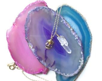 Skull Necklace, Skull Quartz Crystal Necklace, Tiny Skull Necklace, Quartz Crystal Necklace