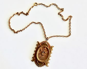 1930s victorian Revival Brass Pendant Necklace