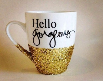 "Glitter ""Hello Gorgeous"" mug"