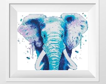 Blue Elephant Cross Stitch Pattern Watercolor cross stitch Animals Counted cross stitch chart Rainbow cross stitch PDF download Coupon code