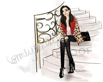 "Fashion Illustration print ""The One Who Went For It"", Fashion Illustration of girl on steps, Gucci Bag By Emily Brickel Edelson"