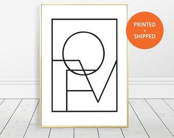 Love Wall Art, Love Print, Gift For Her, Love Square, Geometric Love, Scandinavian Print, Printable Art, Geometric Print, Typography Print