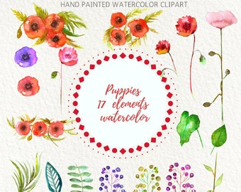 Watercolor clip Art Poppies Flowers Clip Art,Hand Painted Watercolor Flowers, Wedding, Invitation, Red, PNG Elements, Invite, green leaves
