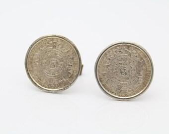 Vintage Sterling Silver Aztec Calendar Cufflinks Mexico Eagle Stamp Mark. [5067]