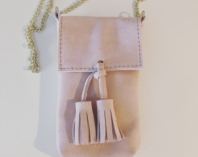 Caramel Small Handmade Leather Cell Phone Purse/ Small Leather Cross body.