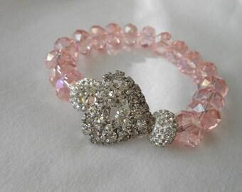 Pink Crystal Bling Heart Bracelet