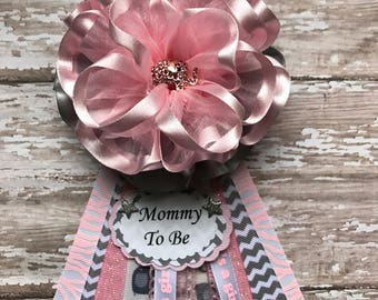 Pink Mommy To Be Corsage Baby Shower Corsage Mom Badge Mom Corsage Pink and Lace Mommy To Be Corsage