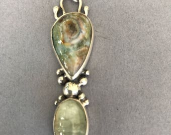 Handmade, sterling silver, Ocean jasper and phrenite pendant