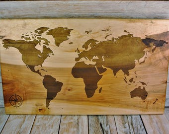 World Map - Engraved on Maple Wood - Wooden World Map - Solid Slab Map - World Map Art -  11 1/4 x 19 1/4 Inches