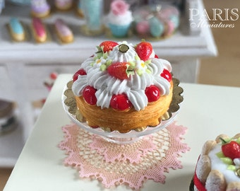 MTO - Strawberry Saint Honoré - French Pastry - Miniature Food in 12th Scale for Dollhouse