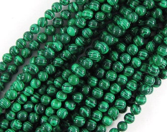 "6mm synthetic green malachite round beads 16"" strand 19812"