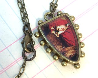 Little Red Riding Hood Dark Hobnail Shield Necklace, Mixed Media Illustration Jewelry