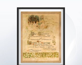 Custom Vintage Wedding Certificate - Sweet Romantic - Marriage Certificate - Art Deco Style Floral Design - Old English Script - Personalize