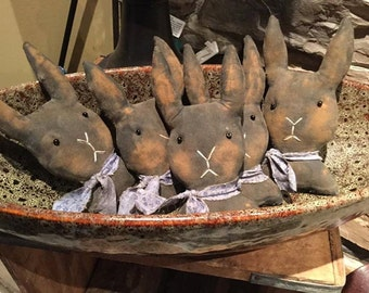 Primitive set of 5 Easter bunny Rabbit bowl fillers Made to Order