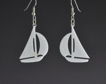 White Earrings Upcycled Corian Sailboat Earrings Nautical Themed Pierced Dangle Drop Earrings - Lightweight Handmade Recycled Earrings