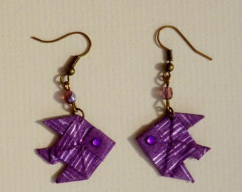 Earrings double goldfish Indian paper origami stripes purple tones