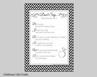 Don't Say Bridal Shower Game Sign Rings - Download Printable Bridal Shower Games - Black White Chevron Bridal Game BR004