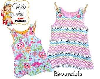Reversible A-line Dress Pattern, Girl's Dress Pattern, Jumper Pattern, Toddler Dress Pattern, Baby Dress Pattern, pdf Sewing Pattern. Nickie