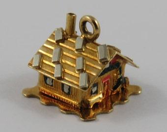 Enamel Cottage-Love Nest With Couple in Bed Inside Mechanical 18K Gold Vintage Charm For Bracelet