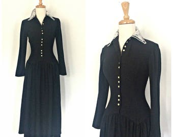 Vintage Gunne Sax Dress - prairie dress - fit and flare - midi - midnight blue - Small