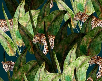 Leopards- print- gift - wild cats- animal lover- jungle- plants