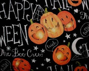 Pumpkin Halloween Fabric, By The Yard, Half Yard, Cotton Fabric, Pumpkins, Sewing Fabric, Quilting Fabric, Black Cats, Cats, Fabric Shop