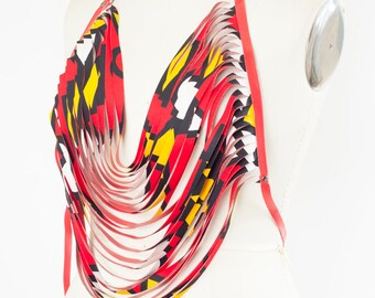African Print Body Necklace Vegan Leather Red Yellow