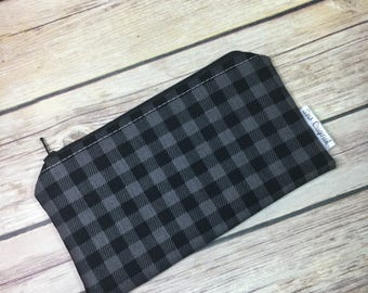Reusable Snack Bag, Black Buffalo Plaid, Gift for Boys, Gift for Him, Stocking Stuffer, Plaid Fabric, Snack Bag, Zero Waste Lunch