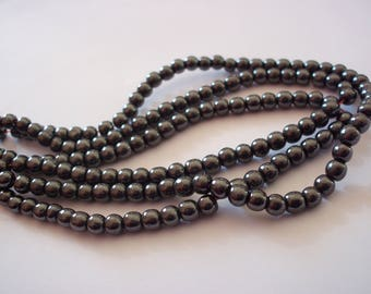 Set of 10 beads Hematite gunmetal 4 mm