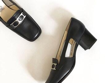 navy platform loafer