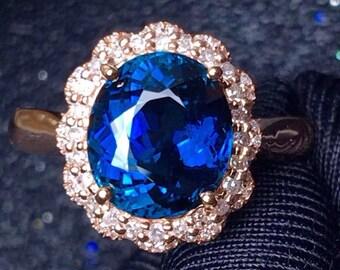 Indicolite Tourmaline Ring Eye Clean Mozambique Origin Indicolite Tourmaline Faceted Oval 9 x 7.9 MM Diamond 18K Rose Gold Ring