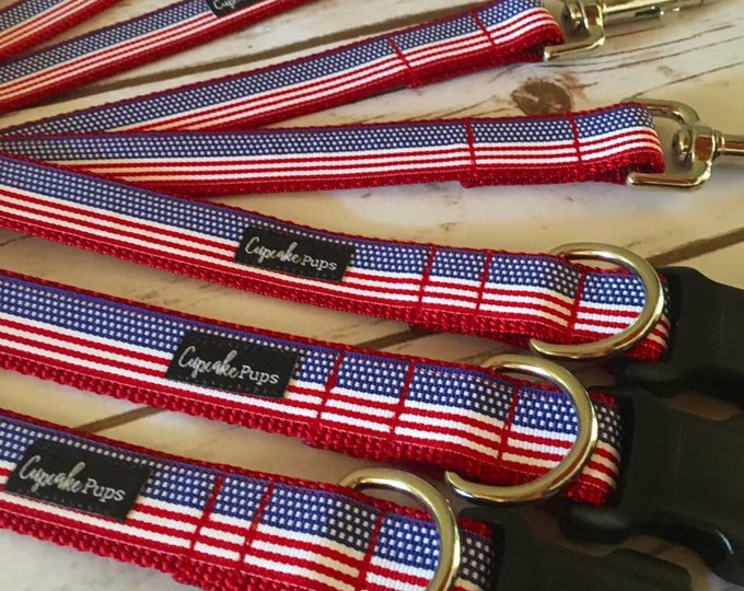 "The Freedom Collar and Leash Set | Designer 1"" Width Dog Collar | CupcakePups Collars | Fourth of July | American Pride Medium/Large"