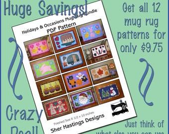 PDF Pattern for Holiday Mug Rug Bundle, Halloween Mug Rug, Christmas Mug Rug  Pattern