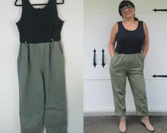 Khaki Green Pants Romper One Piece Cotton Jumpsuit Size Large 14