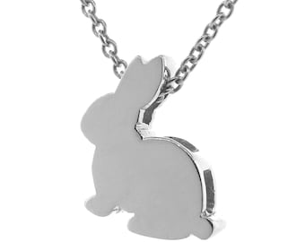 Sterling Silver bunny Pendant on a silver cable chain, Bunny Necklace, Rabbit Pendant, Silver Rabbit Necklace