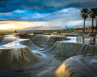 The Venice Skate Park at sunset, in Venice Beach, Los Angeles, California. Photo Print, Metal, Canvas, Framed.
