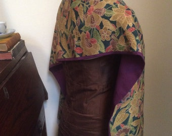 Vintage Japanese  fine Wool and Silk purple and gold leaves and flowers scarf