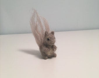 Cute Needle Felted Gray Squirrel - Felted Squirrel - Waldorf Felted Animal - Decorative Squirrel - Fiber Art - Decoration, Toy