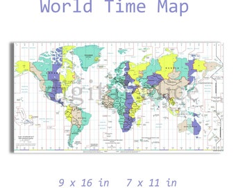 Time zone map etsy modern time zone map instant download digital printable universal time utc diy print sciox Image collections