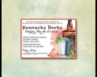 Kentucky Derby Invitations / 5x7 YOU PRINT / Horse Racing Betting Slips / Mint Julep / Bourbon Whiskey / Belmont Stakes, Preakness
