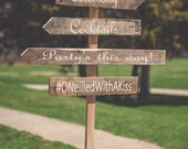 Custom Wedding Sign, Personalized Wood Directional Sign, Reception Sign, Ceremony Sign, Cocktails Sign, Hashtag Sign, Rustic Sign, Arrow