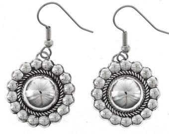 Silver Concho Earrings Navajo French Hooks