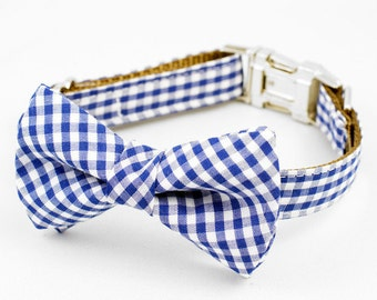 Bow Tie Dog Collar - Blue Gingham