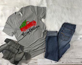 Merry Christmas Truck, Merry Christmas, Christmas Truck Shirt, Christmas Tree Shirt, Holiday Shirt, Women's Christmas Shirt, Red Truck Shirt